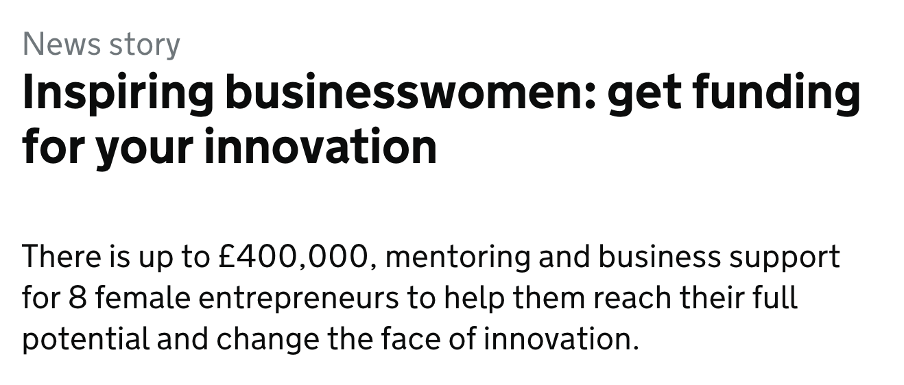 @InnovateUK – Women in Innovation award
