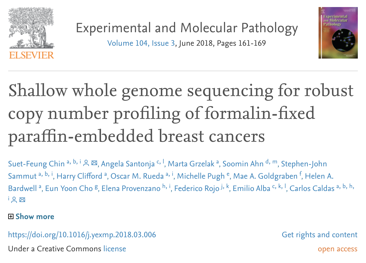 Applying sWGS for copy-number analysis in FFPE tumour tissue